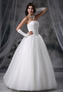 Wedding Dress A Line Beading Tulle 2013 Strapless