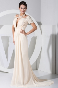 Sleeves Prom Dress Sweep Train Ivory Chiffon Beading