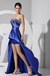 Royal Blue Prom Dress 2013 Beading High Low Style