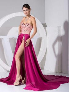 Sexy High Slit Rose Pink Evening Dress Rose Pink