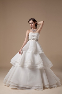 Layered Wedding Dress Beading Sash Organza Brush Train