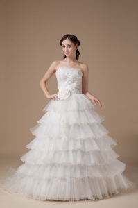 Organza Layers Handmade Flowers Strapless Wedding Dress