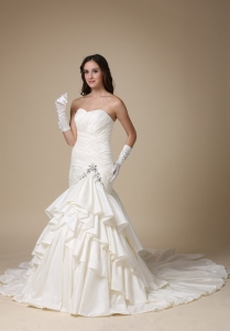 Layers Mermaid Sweep Train Wedding Dress Sweetheart