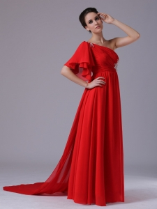 Chiffon One Shoulder Beading Red Court Train Prom Dress