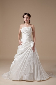 Appliques Flowers Strapless Brush Train Wedding Dress
