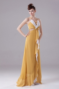 Gold Prom Dress With Halter Ruch adn Brush Train