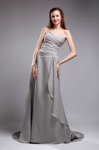 Strapless Gray Watteau Train Prom Dress Chiffon