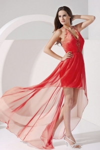 Red Open Back Chiffon V Neck High Low Prom Dress