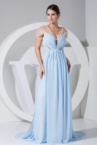Light Blue Chiffon Brush Train 2013 Prom Dress V Neck