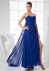 High Slit Sweetheart Watteau Train Blue Prom Dress