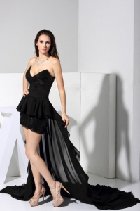 Prom Dress V Neck Black Sweep Train Sexy Chiffon