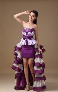 High Low Lavender Prom Dress Layers Bow Taffeta 2013
