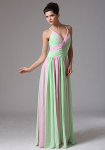Straps Baby Pink And Apple Green Ruch Prom Dress