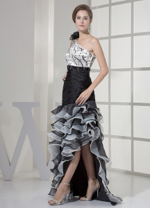 One Shoulder and Beading 2013 High-low Prom Dress