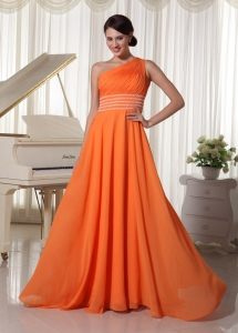 One Shoulder Prom Dress Ruch and Beaded t Brush Train