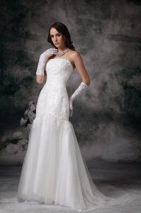 Mermaid Wedding Dress Lace Strapless Sweep Train