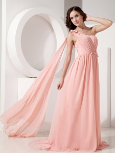 Watermelon One Shoulder Ruch Watteau Train Chiffon