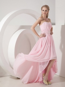 High Low Baby Pink Sweetheart Chiffon Prom Dress