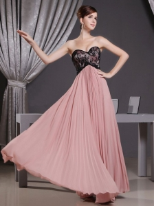 Pink Prom Dress With Sweetheart Laceand Pleat 2013