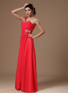 Coral Red One Shoulder Floor-length Beaded Prom Dress