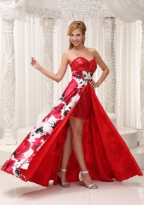 Evening Dress Red Sequins Printed High Low Party Dress