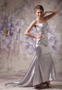 Silvery Mermaid Sweep Train Evening Dress Sweetheart