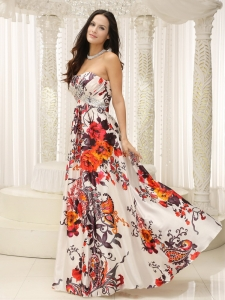 Printed Strapless Floor Length Beading Prom Dress