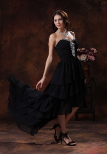 Balck Layered Sweetheart High Low Prom Dress Chiffon