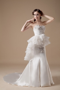 Mermaid Organza Taffeta Sweep Train Wedding Dress Layers