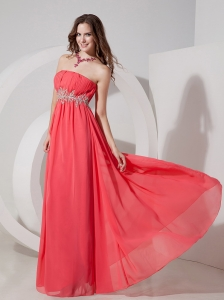 Watermelon Red Empire Strapless Floor-length Prom Dress