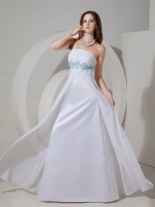 Prom Dress White High Waist Ruches Chiffon Taffeta