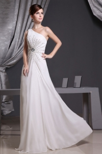 White One Shoulder Beading Prom Dress Floor-length