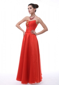 Rust Red Strapless Prom with Embroidery Prom Dress