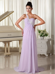 Applique One Shoulder Lilac Brush Train 2013 Prom Dress