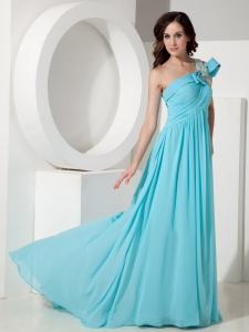 Aqua Empire One Shoulder Court Train Beading Prom Dress
