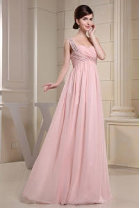 Beaded One Shoulder Ruched Bodice Baby Pink Prom Dress