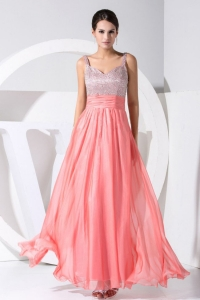 Beading Straps Ankle-length Straps Prom Dress Watermelon