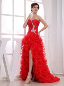 Red Beading Mermaid Sweetheart Prom Dress High-low