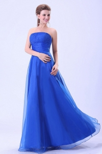 Blue 2013 Prom Dress With Empire Organza Ruched