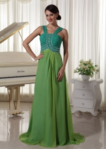 Spring Green Brush TrainStraps Ruch Prom Dress