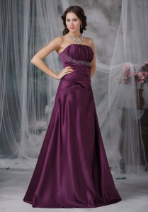 Dark Purple Strapless Floor-length Prom Dress Beaded