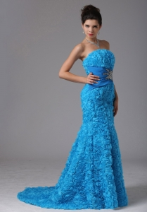 Rolling Flower Baby Blue Beading Prom Dress 2013