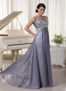Grey Sequin V-neck Brush Train Prom Dress 2013