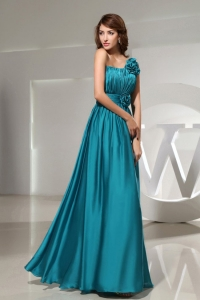 One Shoulder Empire Teal Floor-length Formal Prom Dress