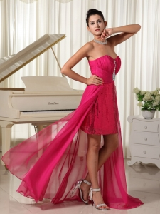 High-low Prom Dress Beading Hot Pink With Sequin