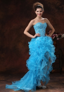 High-low baby Blue 2013 Prom Dress Beaded Ruffled
