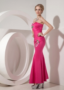 Hot Pink Mermaid Ankle-length Appliques Prom Dress
