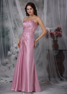 Lavender Strapless Floor-length Applique Prom Dress