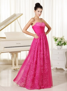 Leopard Sweetheart Beaded Hot Pink Prom Dress 2013