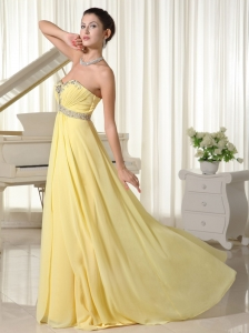Light Yellow Beaded Sweetheart 2013 Prom Dress